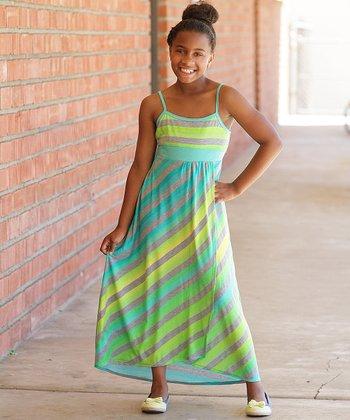 Turquoise & Lime Diagonal Stripe Maxi Dress - Girls