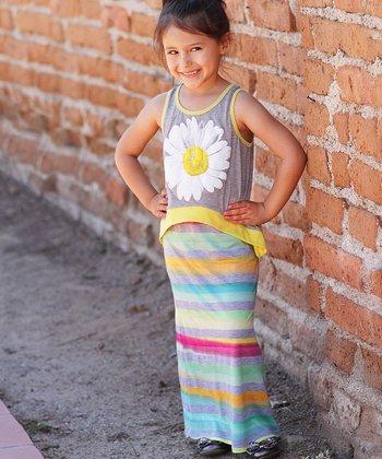 Yellow & Turquoise Daisy Overlay Maxi Dress - Girls