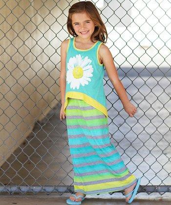 Turquoise & Yellow Daisy Overlay Maxi Dress - Girls