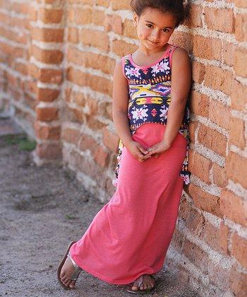 Coral Tribal Overlay Maxi Dress - Girls