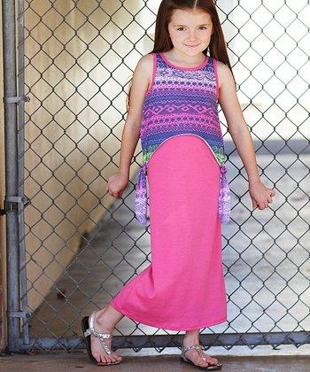 Pink Batik Overlay Maxi Dress - Girls