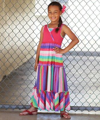 Red Multi-Stripe Maxi Dress - Girls