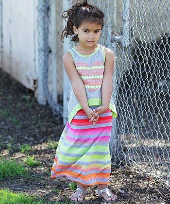 Tangerine & Lime Heart Overlay Maxi Dress - Girls