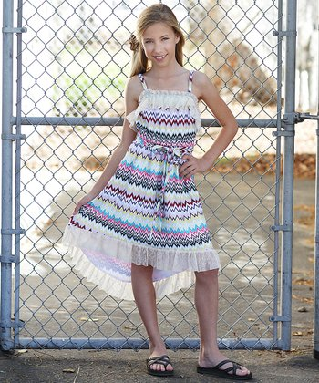 Ivory & Rainbow Stripe Hi-Low Maxi Dress - Girls