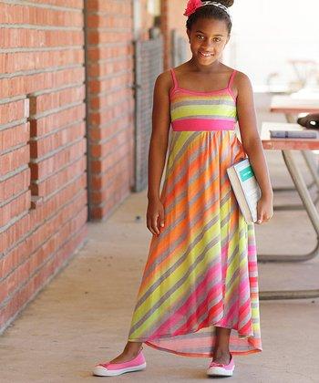 Fuchsia & Orange Diagonal Stripe Maxi Dress - Girls