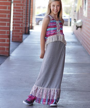 Heather Gray & Magenta Stripe Ruffle Overlay Maxi Dress - Girls