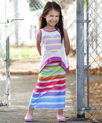 Rainbow Stripe Layered Maxi Dress - Girls