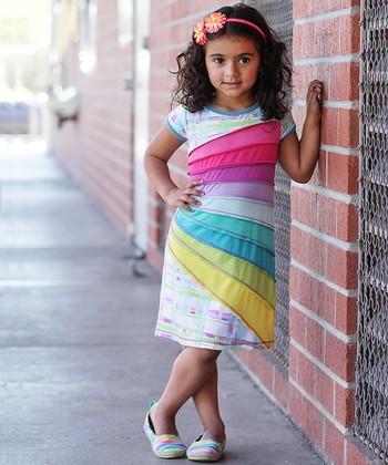 Rainbow Spring Shift Dress - Toddler & Girls