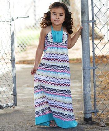 Purple & Turquoise Zigzag Maxi Dress - Girls