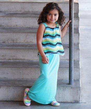 Teal Zigzag Crocheted Layered Maxi Dress - Girls