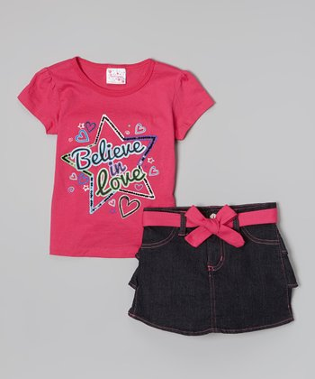Pink 'Believe in Love' Tee & Tiered Denim Skirt - Toddler & Girls