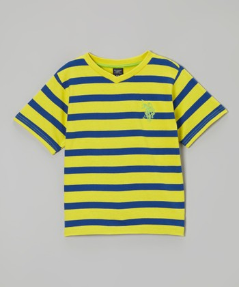 Laser Yellow & Blue Stripe Tee - Boys