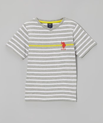 Light Heather Gray Stripe Tee - Toddler & Boys