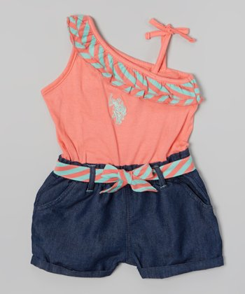 Coral Stripe Asymmetrical Romper - Toddler & Girls