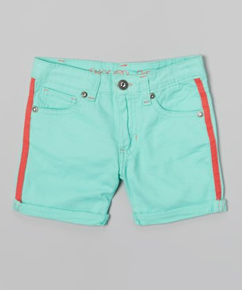 Frozen Aqua Stripe Cuffed Shorts - Toddler & Girls