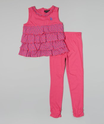 Pink Kite Ruffle Tank & Leggings - Infant, Toddler & Girls