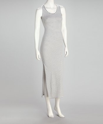 Gray & White Stripe Midi Dress