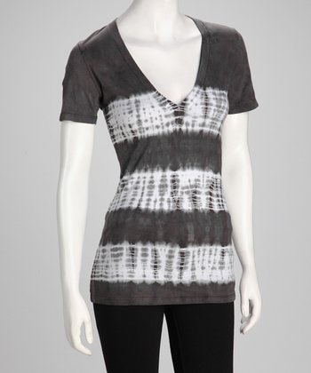 Gray Tie-Dye V-Neck Top