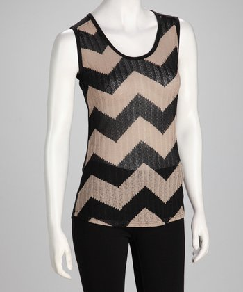 Black & Tan Chevron Sleeveless Top
