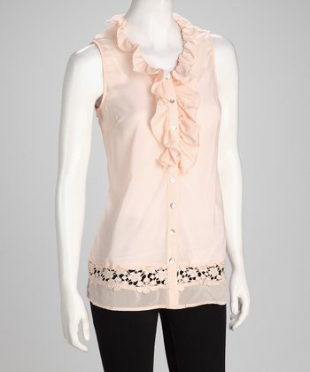 Peach Ruffle Sheer Sleeveless Button-Up Top