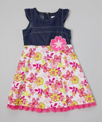Pink Floral Denim Angel-Sleeve Dress - Infant, Toddler & Girls