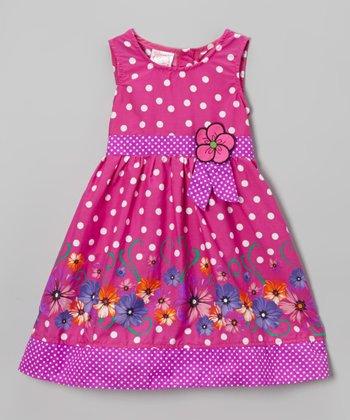 Magenta Polka Dot Floral Dress - Infant, Toddler & Girls