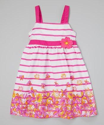 White & Pink Floral Stripe Dress - Toddler & Girls