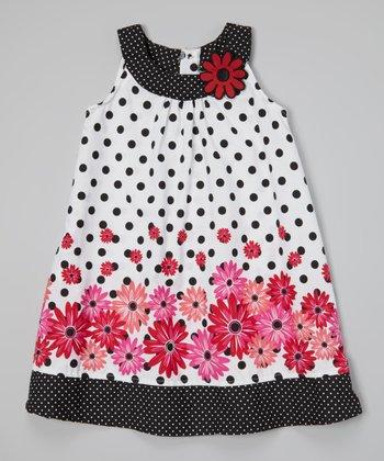 White & Black Polka Dot Floral Swing Dress - Infant & Girls
