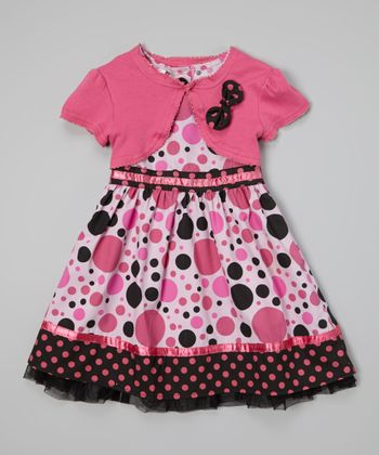 Light Pink Polka Dot Dress & Shrug - Toddler