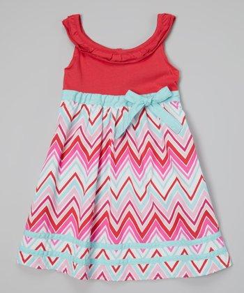 Coral & Blue Zigzag Ruffle Yoke Dress - Infant, Toddler & Girls