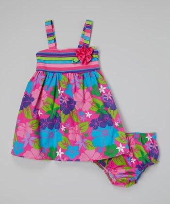 Magenta Babydoll Dress & Diaper Cover - Infant, Toddler & Girls