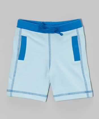 Light Blue Athletic Organic Shorts - Infant, Toddler & Boys