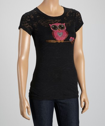 Black Heart Owl Burnout Tee