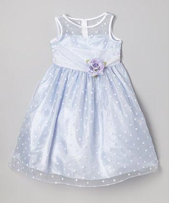 Lilac Polka Dot & Flower Dress - Girls