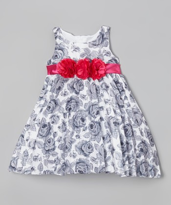 Gray & Red Floral Pleated Dress - Infant
