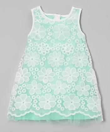 Mint & White Lace Overlay Shift Dress - Toddler & Girls
