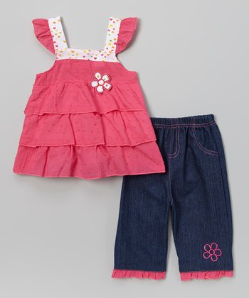 Fuchsia Flower Tiered Top & Denim Pants - Infant & Toddler