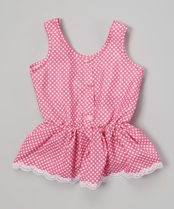 Stolen Pink Polka Dot Ruffle Button-Up Tank - Toddler & Girls