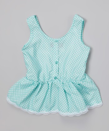Frozen Aqua Polka Dot Ruffle Button-Up Tank - Toddler & Girls