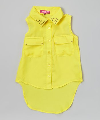 Lemon Frizz Stud Hi-Low Button-Up Tunic - Girls