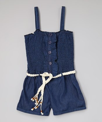 Blue Shirred Belted Denim Romper - Toddler & Girls