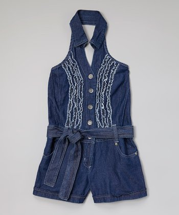 Dark Blue Ruffle Halter Denim Romper - Girls