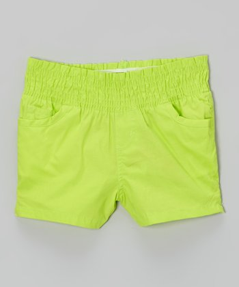 Citron Lime High-Waist Shorts - Girls