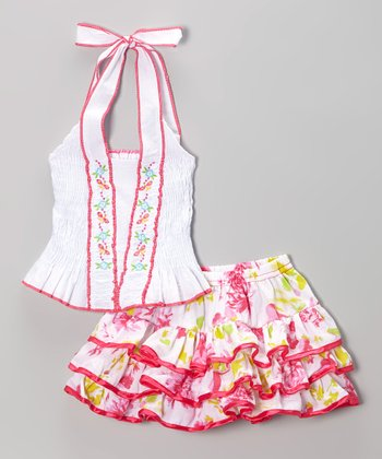 White & Pink Floral Halter Top & Skirt - Toddler & Girls