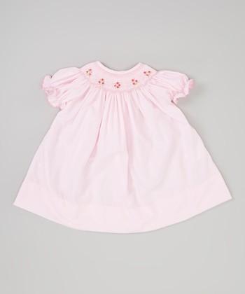 Light Pink Flower Smocked Bishop Dress - Infant
