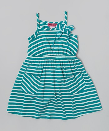 Teal Stripe Pocket Dress - Toddler & Girls