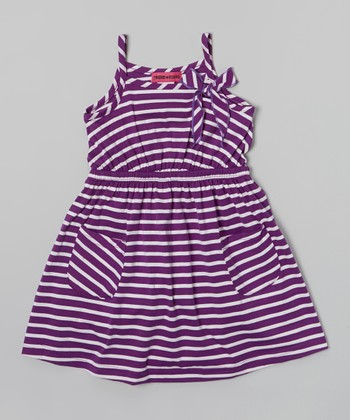 Purple Stripe Pocket Dress - Toddler & Girls