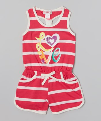 Hot Pink Stripe 'Love' Romper - Toddler & Girls