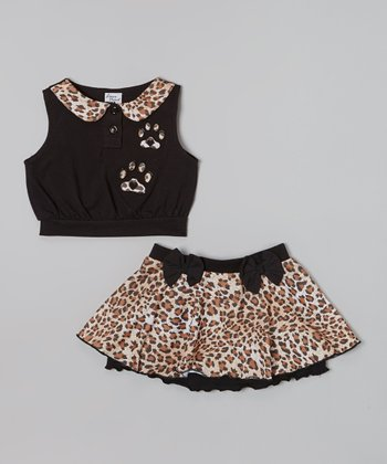 Black Peter Pan Collar Top & Leopard Skirt - Toddler & Girls