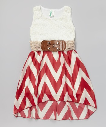 Burgundy Lace Zigzag Belted Hi-Low Dress - Girls